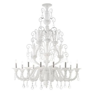 Inverno white Murano glass chandelier