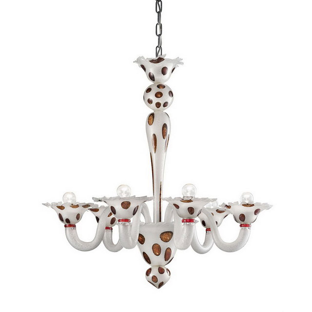 Dalmata 6 lights Murano glass chandelier