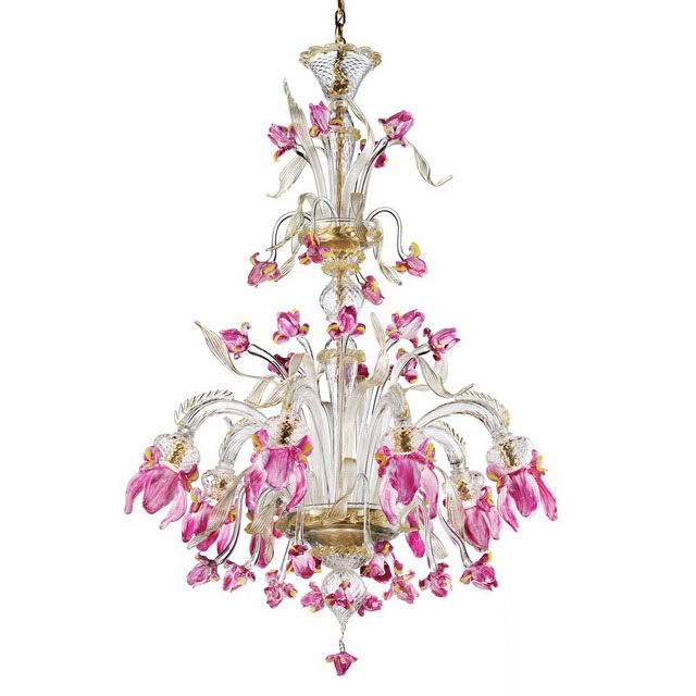 Delizia pink flowers tall Murano glass chandelier
