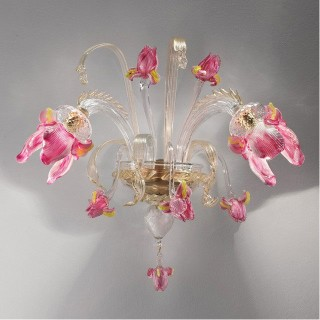 Delizia pink flowers Murano glass wall sconce