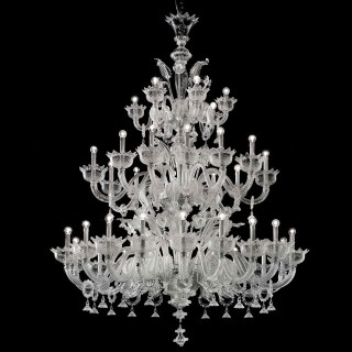 Casanova large three tier Murano glass chandelier with rings